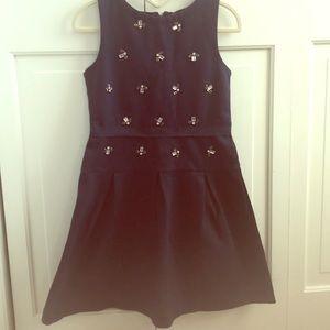 Crewcuts navy dress w/ gem appliqué